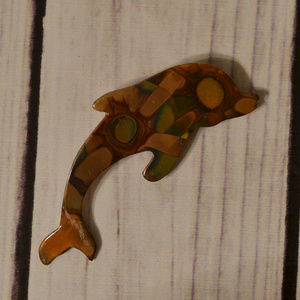 vintage copper dolphin brooch pin fish large nice!